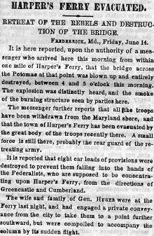 Harpers Ferry Covered Bridge Article in Harper's Weekly, June 14,1861