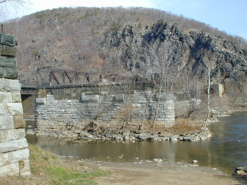 Harpers Ferry Covered Bridge Piers in Potomac River 2001.