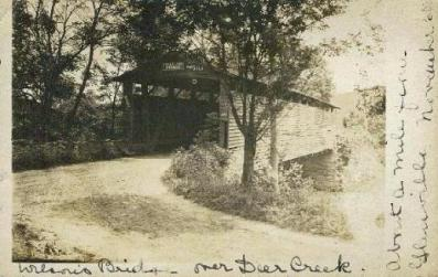 Wilson's Mill Covered Bridge Postcard, postmarked 1907
